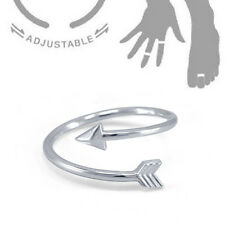 .925 Sterling Silver Bypass Arrow Knuckle Midi Finger Clutch Adjustable Toe Ring