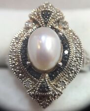 Sterling Silver Black Diamond Pearl Filigree Wedding Cocktail Antique 925 Ring 8