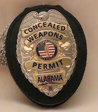 Concealed Weapons Permit badge Alabama Silver on belt clip