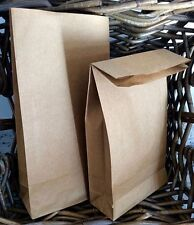 Brown Kraft Flat Block Bottom Paper Bag Party Lunch Deli Cafe Loot Gift 10 Bags