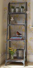 4 Tier Metal Frame Bookshelf artisan urban vintage industrial Pewter finish