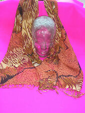 LADIES SCARF LONG ORANGE BEIGE FLOWER TIGER PRINT DESIGN