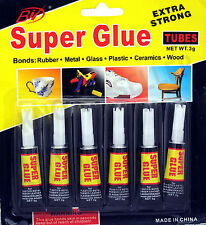 6 x Super Glue extra strong epoxy premium quality for plastic glass rubber paper