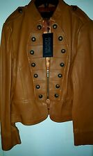 NWT Genuine Fine leather Military styled cognac jacket coat L