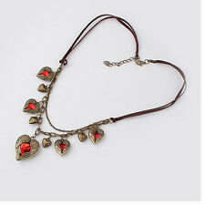 Love ancient ways of angel wings red hearts necklace