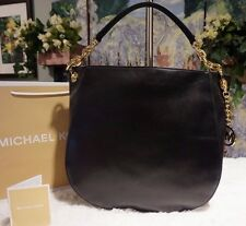 NWT MICHAEL Michael Kors STANTHORPE Large Shoulder Bag BLACK/GOLD Leather $398