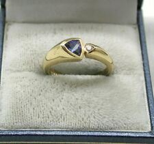 Lovely quality unusual 9ct Gold Blue Tourmaline/ iolite And Diamond Ring