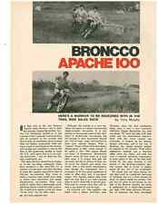 1971 BRONCCO APACHE 100 MOTORCYCLE  ~  NICE ORIGINAL TWO-PAGE ARTICLE / AD