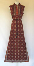 VINTAGE 1960s RAMA SIAM ASIAN ETHNIC MAXI DRESS COTTON BLEND SIZE 12 LINED BELT