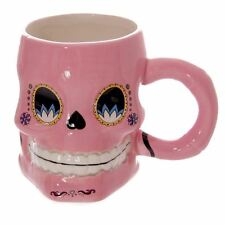 Pink Day Of The Dead Mexican Floral Sugar Skull Shaped Ceramic Mug 10.5cm