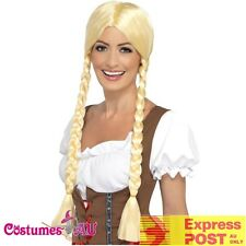 Ladies Bavarian Beauty Wig Oktoberfest Beer Wench Blonde Costume Accessories