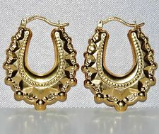 "9 CT YELLOW GOLD VICTORIAN DESIGN ""LARGE"" OVAL CREOLE HOOP EARRINGS"