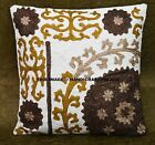 "Indian Throw Pillow Floral Cushion Cover Embroidered Suzani Decorative 16"" Decor"
