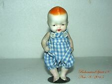 ANTIQUE JAPAN MINIATURE BISQUE BABY BOY DOUBLE JOINTED 6'' HANDMADE OUTFIT DOLL