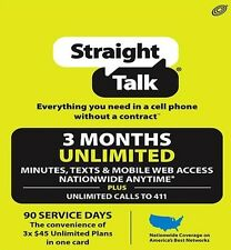 STRAIGHT TALK 3-MONTH UNLIMITED 90 DAYS REFILL CARD