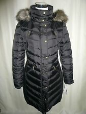 $320 Michael Kors Faux Fur Trim Hooded Quilted Puffer Coat sz S