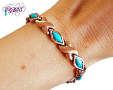 LADIES SUPER STRONG MAGNETIC COPPER ALLOY HEALING BRACELET TURQUOISE STONES