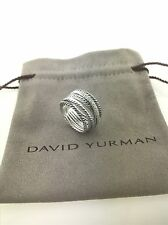 David Yurman Sterling Silver 925 Crossover Wide Cable Pave Diamond Ring Size 8