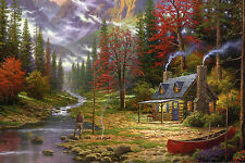 Framed Print - Man Fishing from His Cabin in the Woods (Picture Poster Forest)