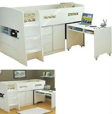 JUPITER SINGLE CABIN BUNK BED LOFT MIDI SLEEPER DESK DRAWERS IN WHITE