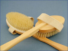 Natural Wood/Bristle Wooden DETACHABLE HEAD Bath/Shower Back/Body Brush/Scrubber