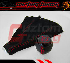 WRX GEN SUBARU IMPREZA JDM BLACK LEATHER RED STITCHING SHIFTER KNOB+SUEDE BOOT