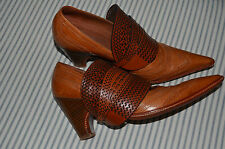 Very RARE! Dries Van Noten Artisan cut out Leather Shoes Pumps Pointed Toe Sz 38