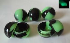 7 Glow-In-The-Dark Green+Black silicone ball storage container jar new