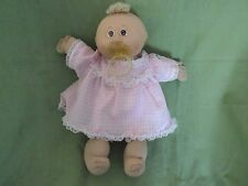 1985 Cabbage Patch Preemie Doll w/Pacifier~Pink Check Dress~Bald/Blonde Vintage!