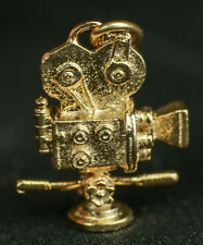 MOVIE CAMERA TV FILM MOTION PICTURE 3D PENDANT CHARM .925 STERLING SILVER GOLD