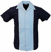 Relco Mens Rockabilly Retro Bowling Shirt in Blue NEW Size XXL Cotton Blend