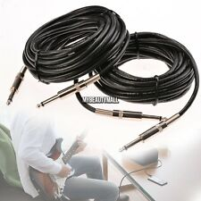 2Pcs 12 GA GAUGE 1/4 TO 1/4 MONO MALE PA DJ PRO AUDIO MICROPHONE CABLES CORD