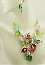 "Joan Rivers Calla Lily & Butterfly Necklace & Earrings Set PIERCED  17"" 3"" ext G"