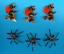 10 PLASTIC SPIDER RINGS & 10 PAPER WITCHES HALLOWEEN CAKE / CUPCAKE DECORATIONS