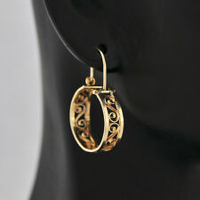Classic Beautiful Wire Pattern Hand Made on 14K Solid Round-shaped Hoop Earrings