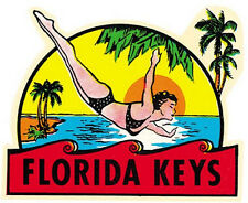 Florida KEYS  --Vintage  1950's-Style  Travel Decal