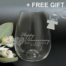 Engraved Anniversary 460ml Stemless Wine Glasses Silver Wedding Anniversary Gift