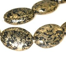 IRON PYRITE WITH INTRUSION GEMSTONE BLACK & GOLD OVAL 18X13MM LOOSE BEADS 7.5""