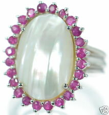 Solid 925 Sterling Silver Genuine Ruby Oval Mabe Pearl Ring Size-7 '
