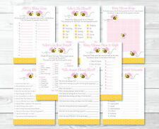 Pink Bumble Bee Baby Shower Games Pack - 8 Printable Games