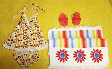 Retired American Girl Doll Julie Swim Set Bathing Suit Outfit Towel Shoes