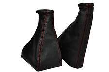FITS VAUXHALL OPEL TIGRA RED STITCHING  LEATHER GEAR GAITERS SET1994-2000