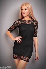 ROBE NOIRE SOIREE LINGERIE SEXY GOWN DRESS 36 38 CLUB CLUBWEAR DISCO GOGO