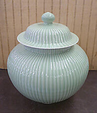 "Large Celadon Glazed Bamboo Design Chinese Porcelain Ginger Jar Vase 14""h x 12""w"