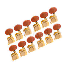 12L Acoustic Guitar Machine Heads Tuner Gold Plated Amber Red Buttons Tuning Peg