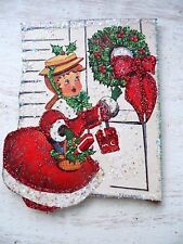 Vintage Image Glittered CHRISTMAS Ornament -Lady Knocking at Door w/Wreath