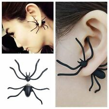 PAIR BLACK SPIDER EARRINGS HALLOWEEN HORROR UNISEX COSTUME ACCESSORY JEWELLERY