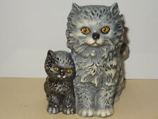 Vintage 1975 Goebel Gray Persian Cat with Kitten Figurine #31008-12