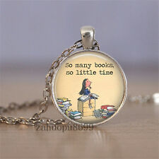 Vintage books Cabochon Silver plated Glass Chain 25mm Pendant Necklace