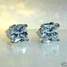 Men's square 7mm simulated diamond white gold filled stud earrings /UK